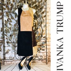 Ivanka Trump Suede Sheath Dress Color Block Sz M